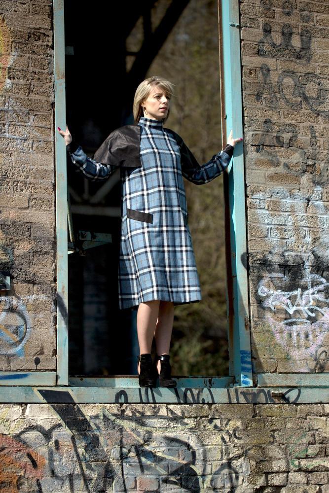 Blue Check Button Back Vintage Dress