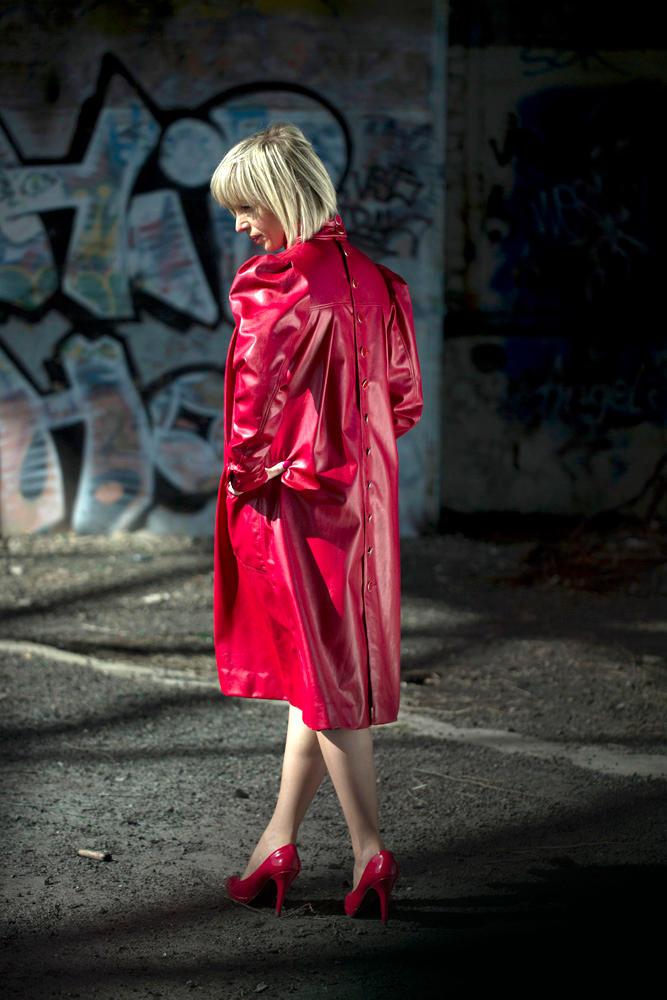 Button Back Vintage Dress in Red Back