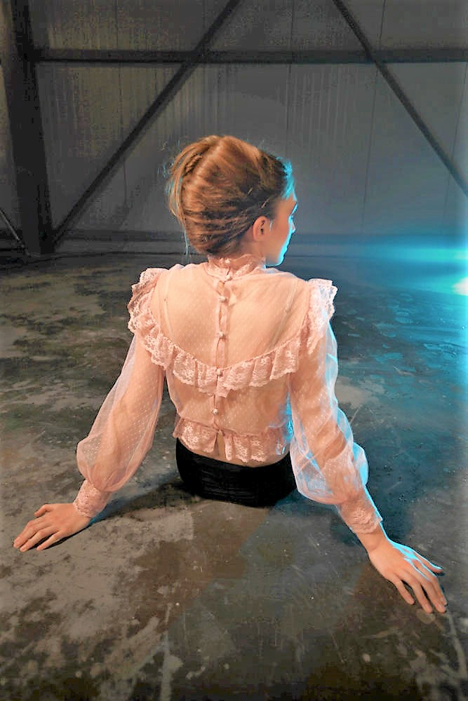 Pink Button Back Top with Lace Back