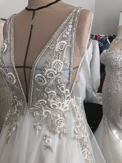 Embroidery and Trim Applique Wedding Dress
