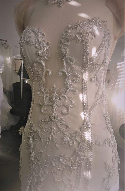 Hand Stitching Details on White Bridal Dress Leah Da Gloria