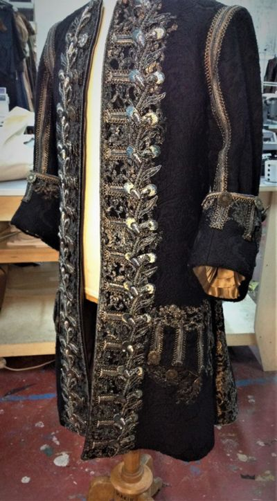 Louis XIV full-length justaucorps with silver gold embroidery and buttons
