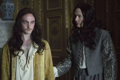 Versailles TV show 2016 George Blagden in golden robe and Alexander Vlahos in doublet
