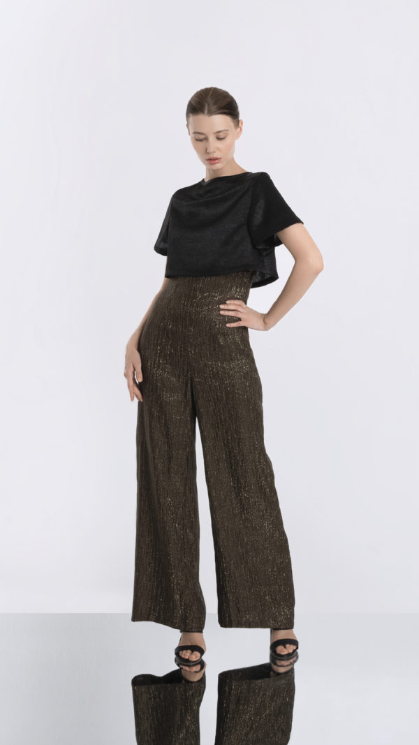 Matador high waisted gold striped pants front 2