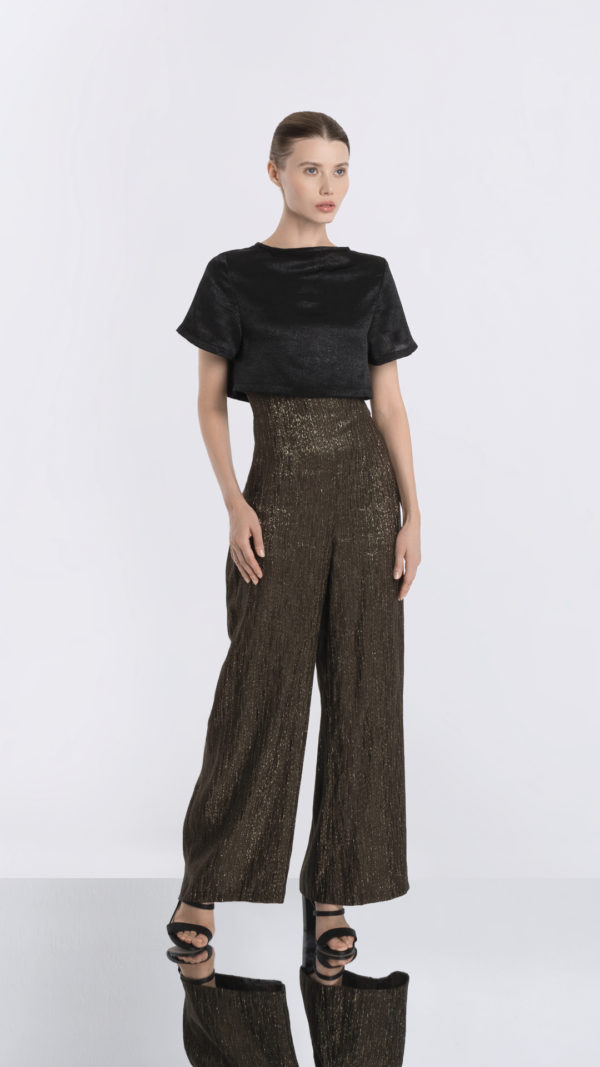 Matador high waisted gold striped pants front