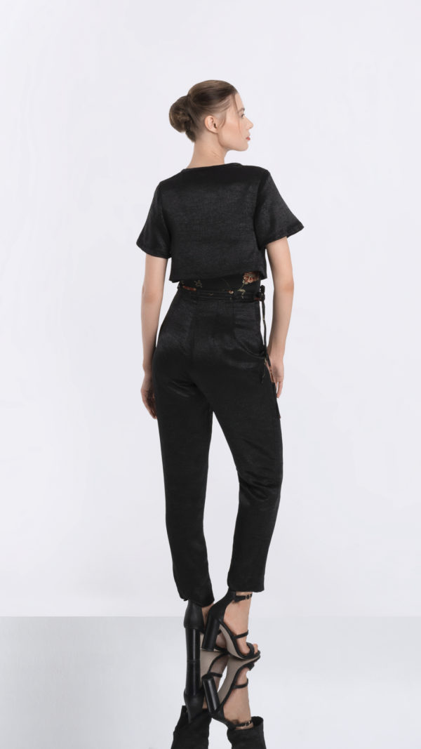 Black High Waisted Pants and Cropped Tee Back