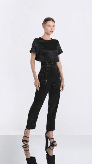 Black High Waisted Pants and Cropped Tee Front 2