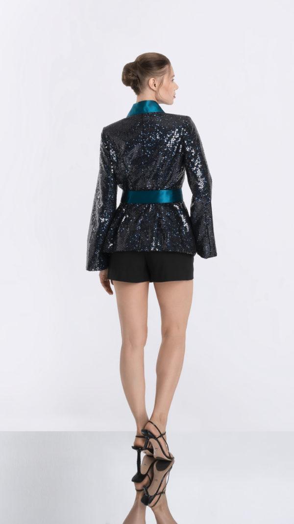 Blues Black Sequin Kimono Jacket Back