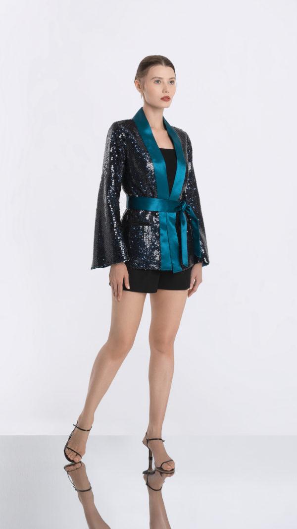 Blues Black Sequin Kimono Jacket Front