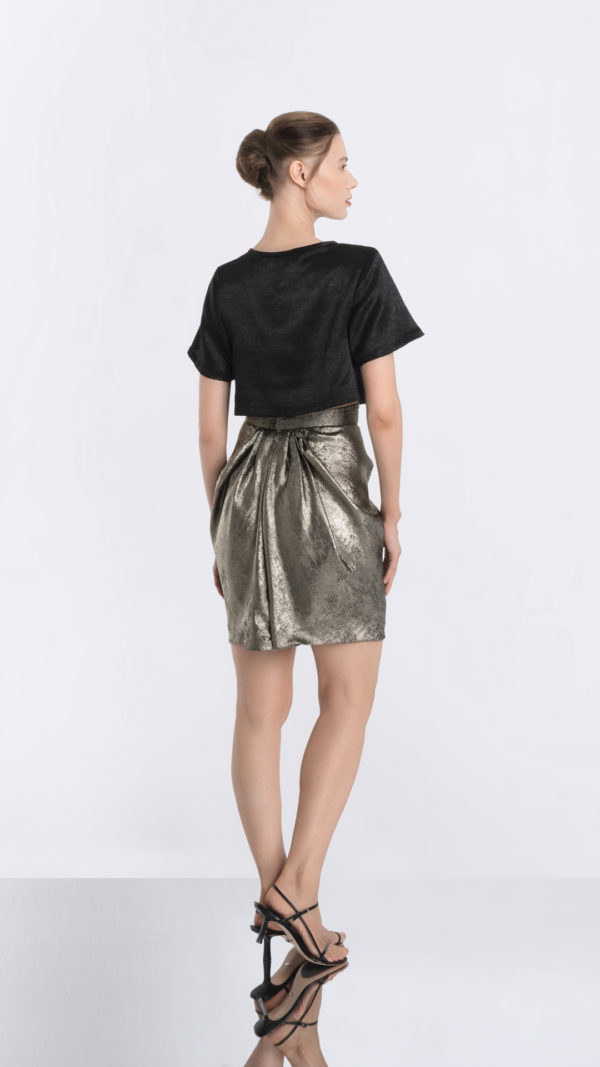 Cropped Black Tee and Golden Skirt Back