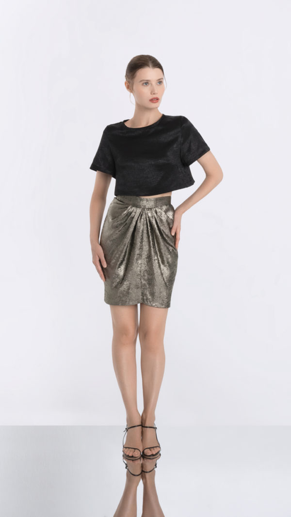Cropped Black Tee and Golden Skirt Front 2