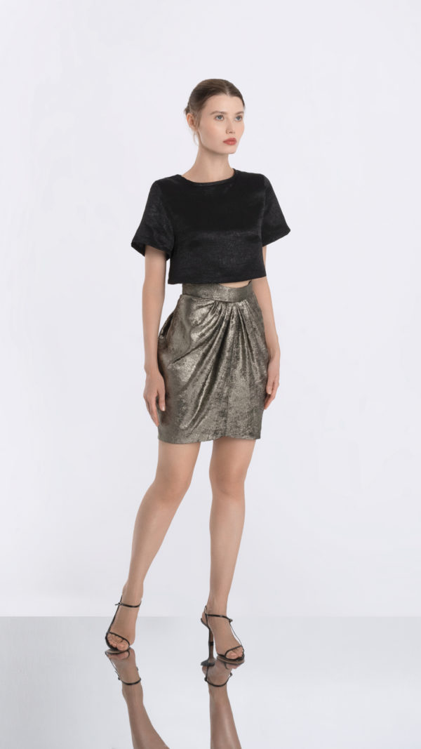 Cropped Black Tee and Golden Skirt Front