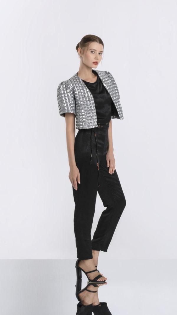Grey Sequin Jacket Front