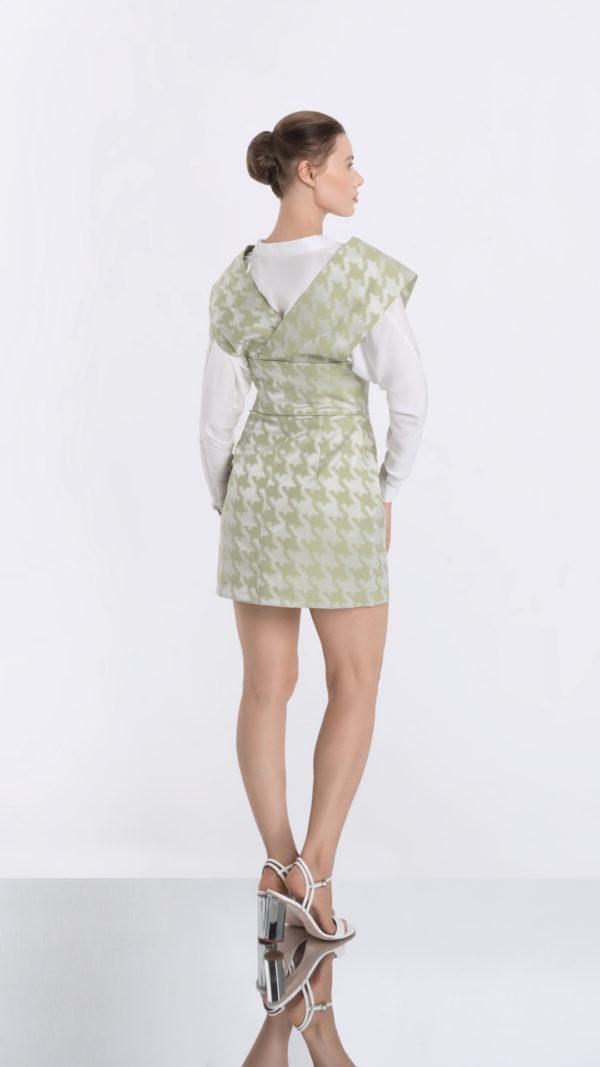 Japonaiserie Green Dress and Transparent White Shirt Bottom