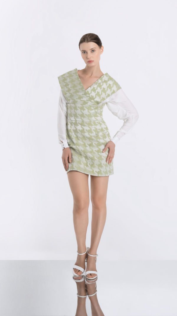 Japonaiserie Green Dress and Transparent White Shirt Front 2