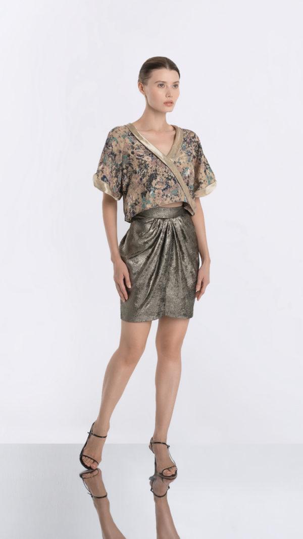 Japonaiserie Top and Golden Skirt Front