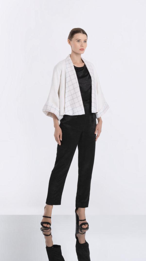 Japonaiserie White Kimono Jack Front