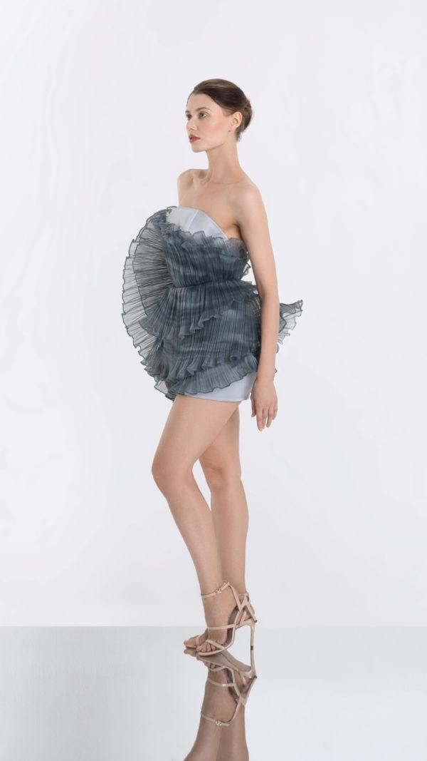 Luna Grey Dress Side