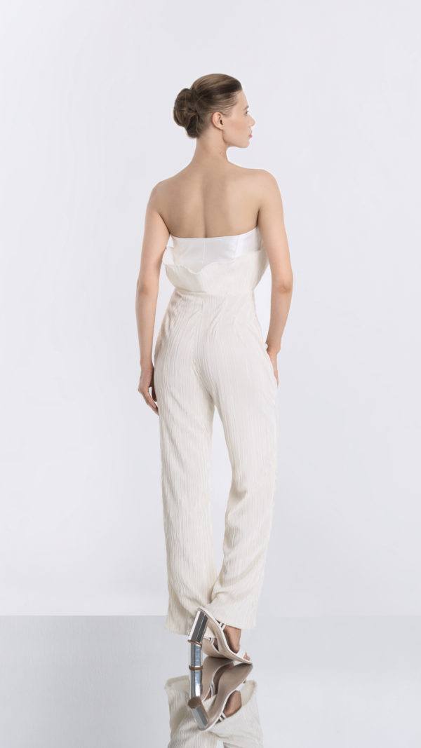 Pleated White Jumpsuit Back