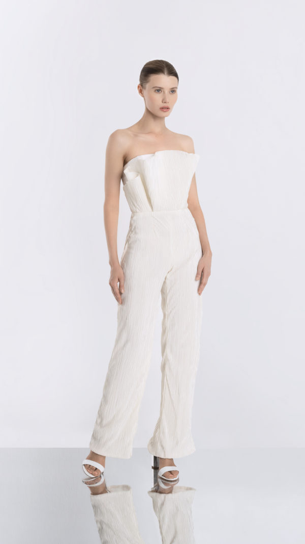Pleated White Jumpsuit Front