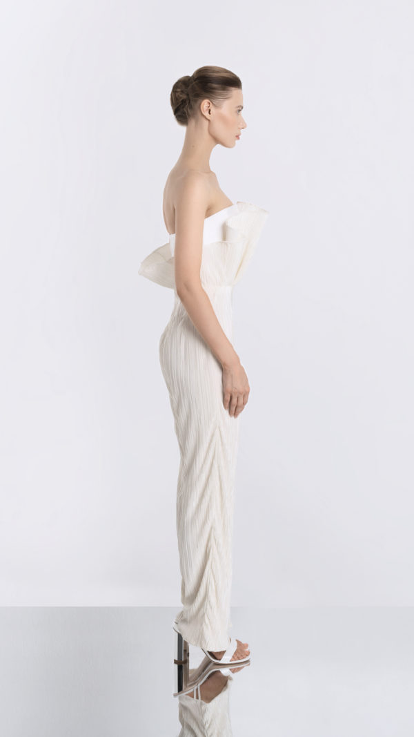 Pleated White Jumpsuit Side