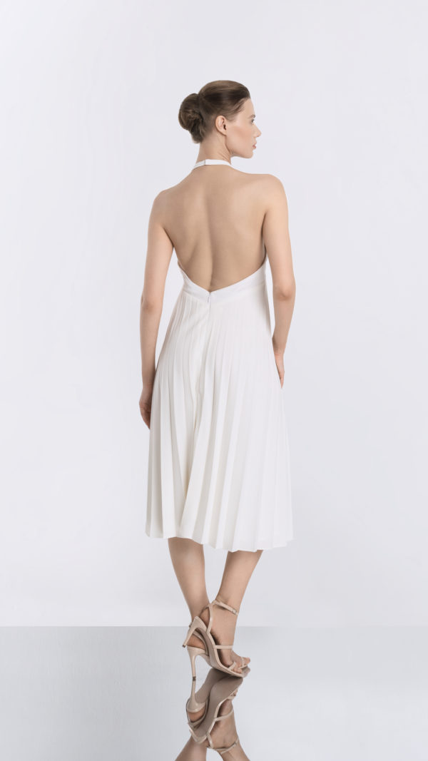 White Pleated Dress Back