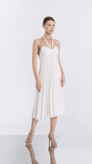White Pleated Dress Front