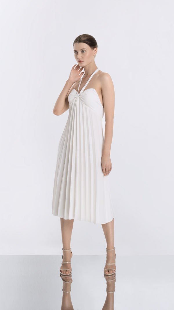 White Pleated Dress Side